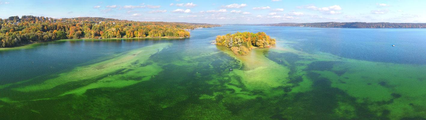 Panorama, Drohnenfoto, Starnberger See, Insel, Muster, Formationen, Sommer, Grün, Türkis