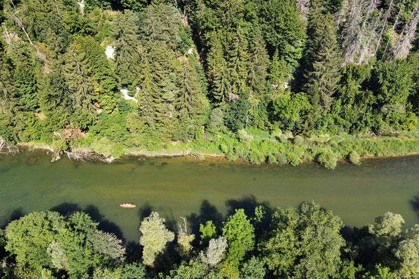 Drohnenfoto - Vogelperspektive - Drohne - Drohnenbild - Luftaufnahme - Fluss - Loisach - Icking