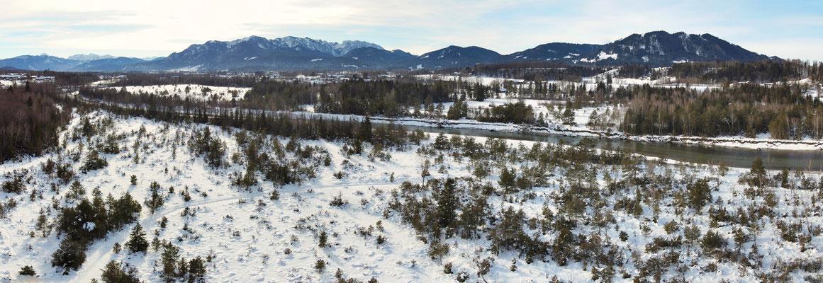 Panorama - Drohnenfoto - Berge - Alpen - Wanderung - Winter - Isar