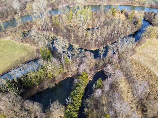 Drohnenfoto - Vogelperspektive - Drohne - Drohnenbild - Luftaufnahme - Fluss - See, Hebertshausen
