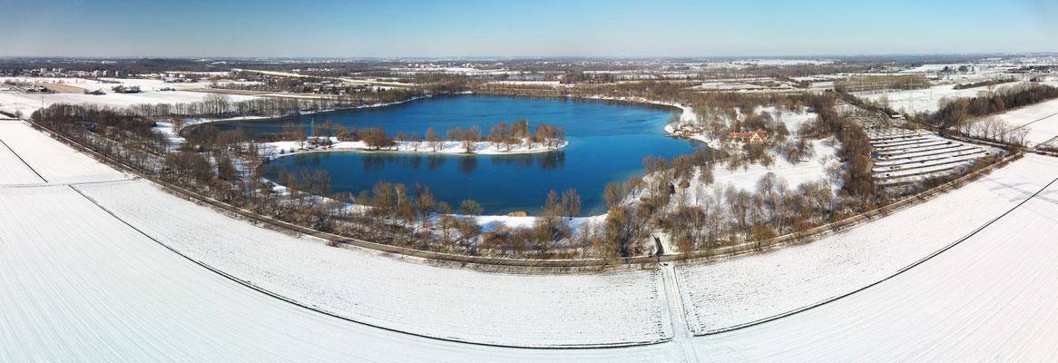 Panorama - Drohnenfoto - Winter - Schnee - Feringasee - Unterföhring