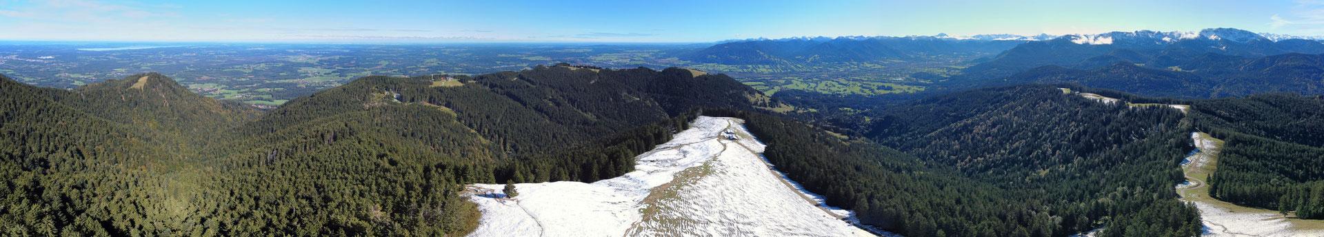 Panorama, Drohnenfoto, Zwiesel, Rund um Blick, Winter, Schnee, Grat, Alpen, Berge