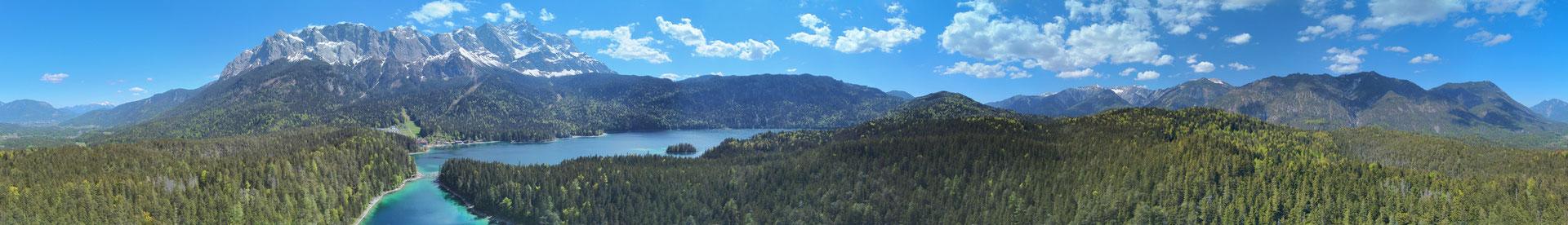 Panorama - Drohnenfoto - Landschaft - Bayern - Berge - See - Karibik - Alpen - Sommer - Ausflug - Wanderung - 360 Grad - Eibsee