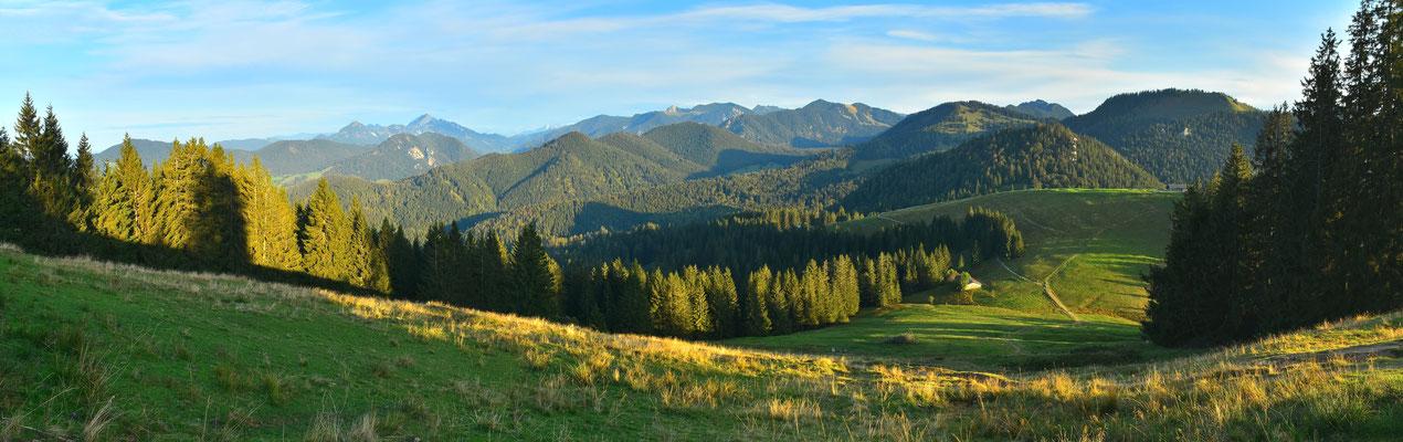 Panorama, Drohnenfotografie, Gindelalmschneid, Tegernsee, Alpen, Berge, Wiese, Wald