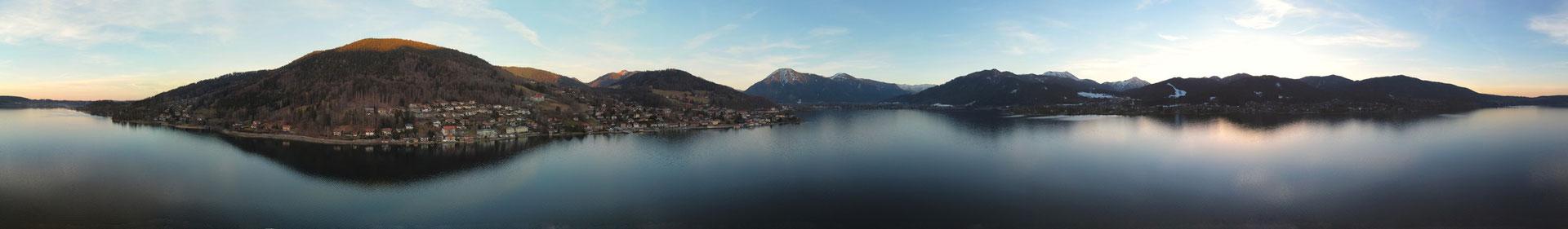 Panorama - Drohnenfoto - Landschaft - Winter -Sonnenuntergang - Tegernsee - 360 Grad