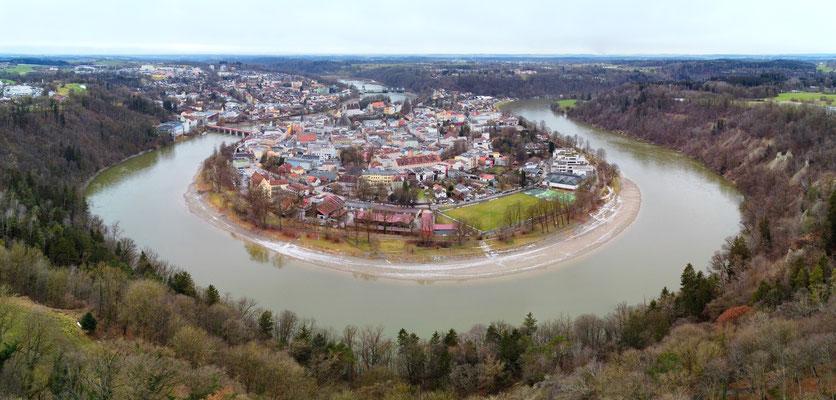 Panorama - Drohnenfotografie - Wasserburg am Inn - Innenstadt - Drohnenfoto