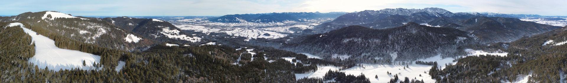 Panorama, Drohnenfoto, Landschaft, Zwiesel, Rund um Blick, Winter, Schnee, Grat, Alpen, Berge