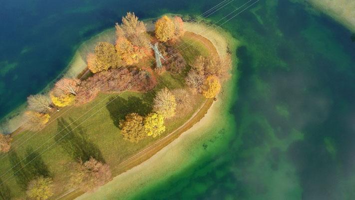 Drohnenfoto - Vogelperspektive - Drohne - Drohnenbild - Luftaufnahme - See - München - Unterföhring - Feringasee
