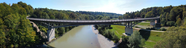 Panorama, Drohnenfotografie, Grünwald, Brücke, Isar, Serpentin, Kanal, Wald