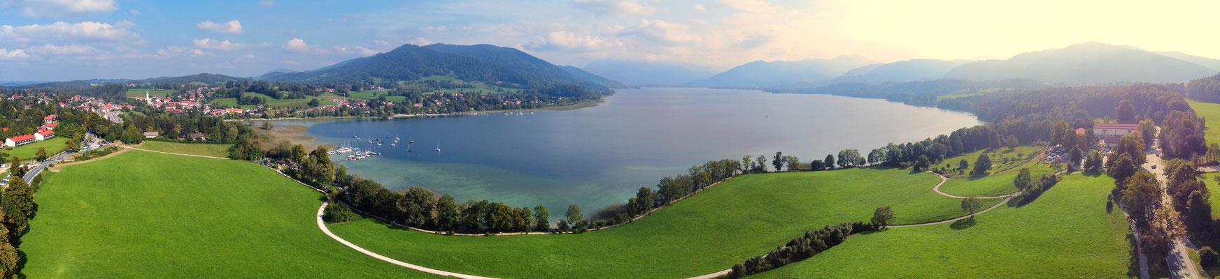 Panorama, Drohnenfoto, Tegernsee, Sommer, Alpen im Hintergrund