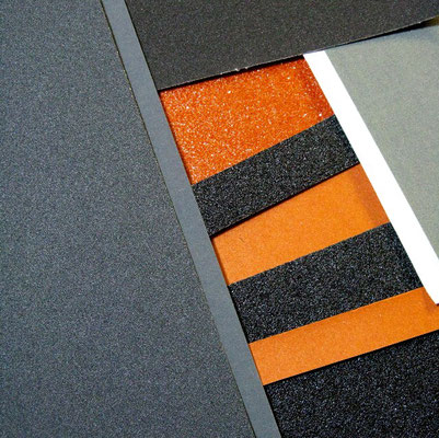 Sandpapier, Schmirgelpapier, Reibungsfelder, black, white, orange, grey