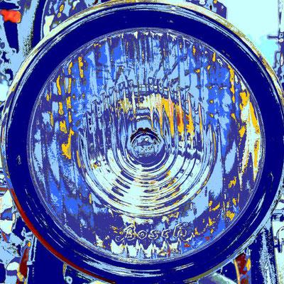Motorradl, Lampe, retro, blau