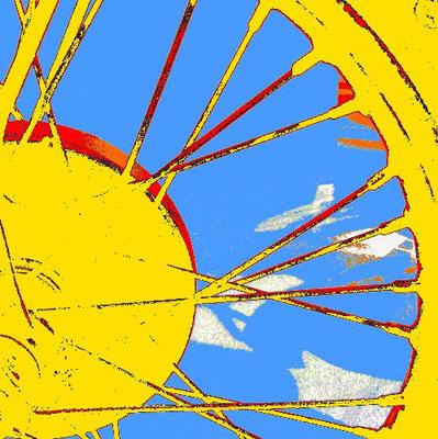 Biker, Rad, Motorrad, Speichen, gelb, yellow, wheel, spokes, moto-art,