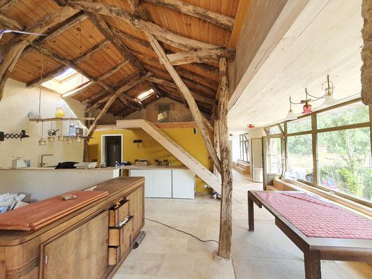 extension sur grange ancienne pour création d'une habitation   architecte Lalbenque