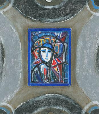 FRAU MIT HUT - Acryl 2005 24x20