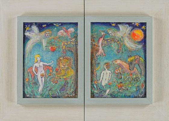 PARADIES (Diptychon) - Acryl 2002 31x22/22