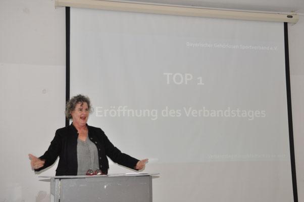 BGS-Präsidentin Birgit Hermann-Payer bei der Eröffnung des BGS Verbandstages