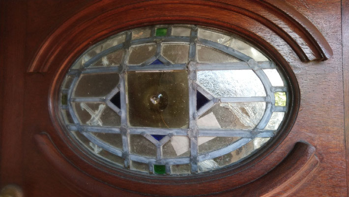 Damaged  bowed panel before repair.