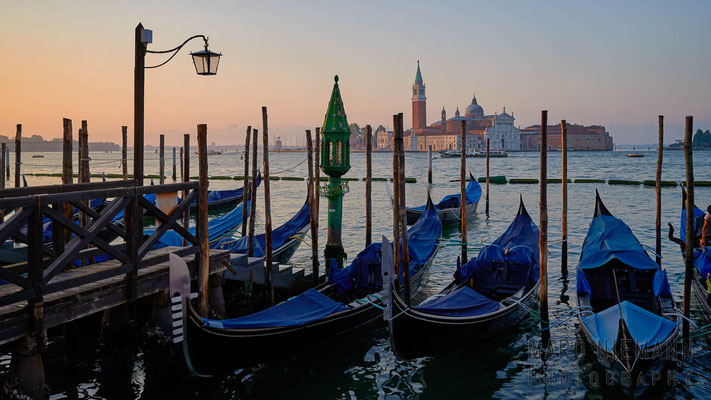 Gondolas in the lagoon of Venice