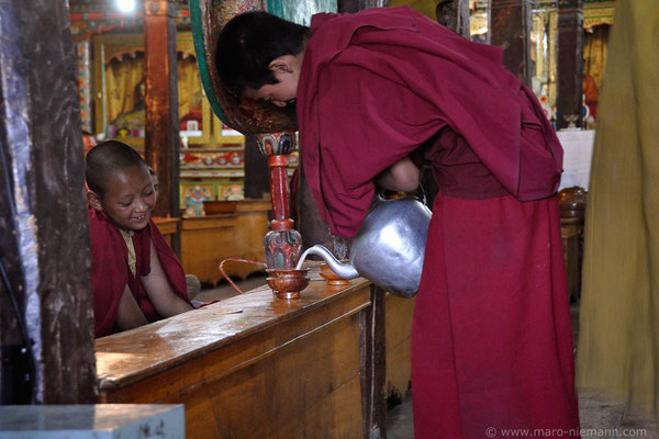 Morning Puja at Thiksey Monastery - Ladakh - India