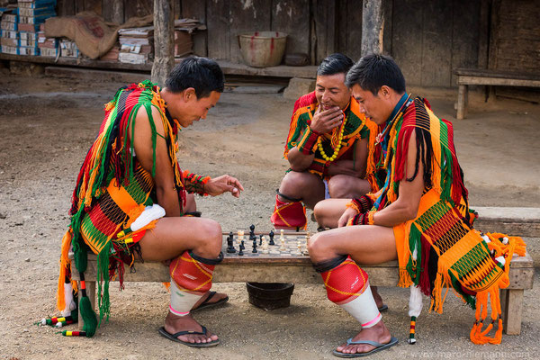 Chakhesang Playing Chess - Nagaland - India
