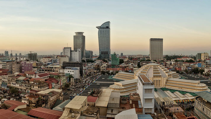 Central Market and city skyline · Phnom Penh · Cambodia