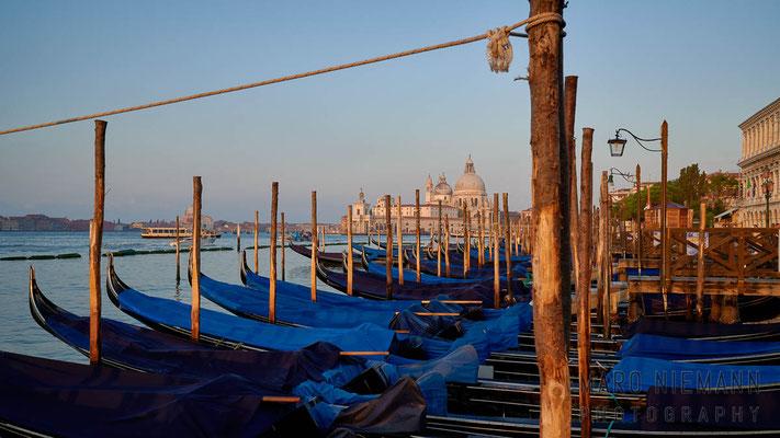 Gondolas in the lagoon of Venice