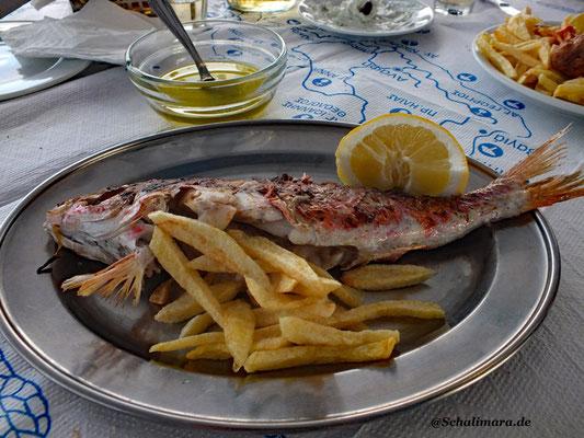 und frischer Fisch