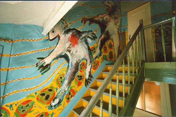 Krefelder Straße 3, Treppenhausbemalung der Künstlerin Sonja Kuprat, ca. 1986