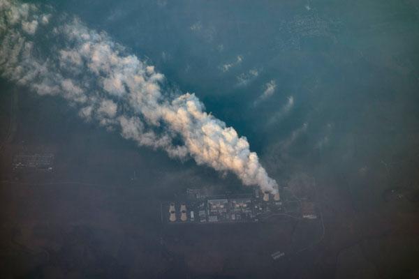 Blick aus dem Flugzeug: Kraftwerk