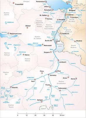 Karte Oberes Rheintal Quelle Rhein bis Bodensee