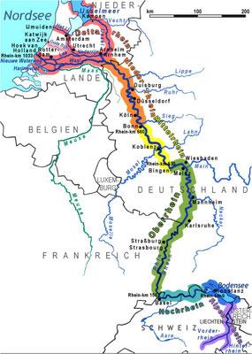 Karte Velotour Rheinquelle bis Nordsee cc wikimedia