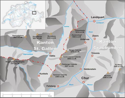 Velokarte Vorderrhein Hinterrhein CHUR klick