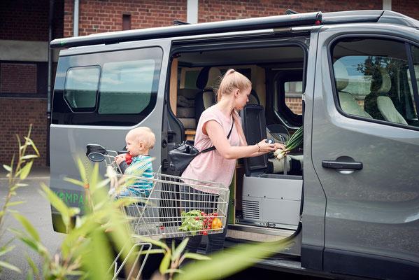Einkaufen mit dem Campingbus