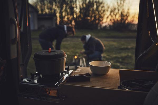 Unsere Campingbus Küche