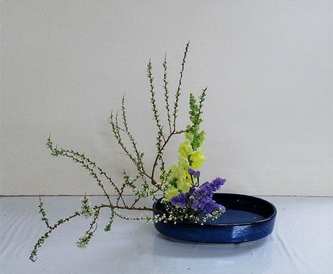 2021.4.7 <雪柳 スナップドラゴン ドラセナサンデリアーナ> Michikoさんの作品です。客枝のドラセナをスターチスに変えていけ直してみました。