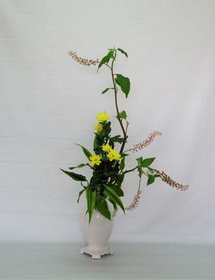 2019.9.3 <山ごぼう スプレー菊 ドラセナサンデリアーナ> Tamikoさんの作品です。