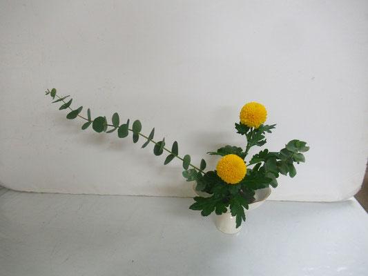 2019.12.4 <ユーカリ ピンポン菊> Rikuくんの作品です。12月研究会の課題をお稽古しました。