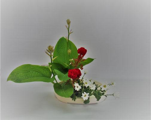2019.7.9 <擬宝珠(ギボウシ) 鶏頭(ケイトウ) スプレー菊> Tamikoさんの作品です。会館にあるギボウシを貰って取合せしました。花を3本葉を7枚にして色彩盛花様式本位のお稽古です。なるべく小振りのものを貰いましたがギボウシの葉が大きかったので葉の重なりと高さに注意しながらいけてみました。