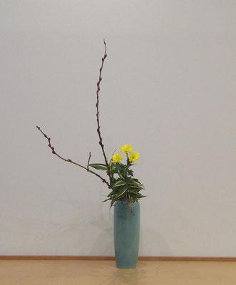 <赤芽柳 小菊 ドラセナサンデリアーナ> 瓶花。Atsukoさんの作品です。駅前教室をお休みした振り替えで来てくれました。