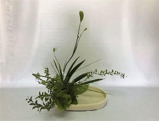 <ヒオウギアヤメ 雪柳 白い花(名前が分かりません) 砥草 擬宝珠> Kumikoさんの作品です。