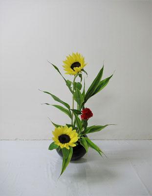 2020.7.1 <向日葵(ヒマワリ) 鶏頭(ケイトウ) ドラセナサンデリアーナ> Ittuちゃんの作品です。自分で花器を選び、ヒマワリを主役にいけたそうです。