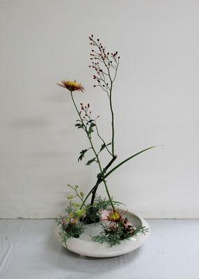 2020.11.18 <野茨(ノイバラ) 菊(キク) 著莪(シャガ) デンファレ ヒバ> Rikuくんの作品です。『花奏』のお稽古をしました。