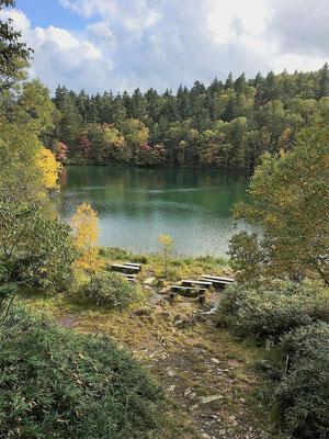 2020.10.3 空沼岳・万計沼のたたずまい! 万計山荘の管理当番のため訪れたが、いつもながらの静かな森林の風景。
