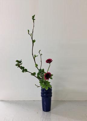 <芽出し木苺 ガーベラ 鳴子百合> Atsukoさんの作品です。