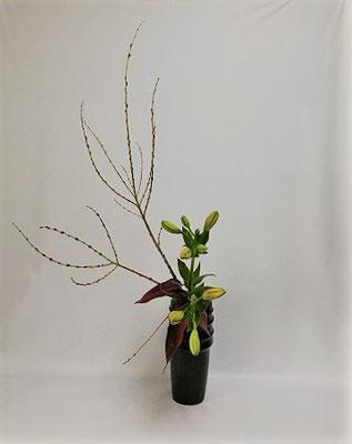 <行李柳(コリヤナギ) 百合 赤ドラセナ> Kumikoさんの作品です。