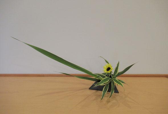 <グラジオラス 向日葵(ヒマワリ) ドラセナサンデリアーナ> 二作目、Natsumiさんの作品です。余った花材を活かして、かたむけるかたちもいけました。