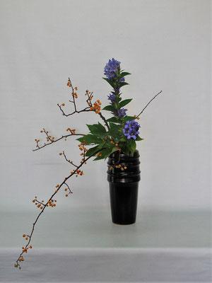 2020.10.13 <蔓梅擬(ツルウメモドキ) 竜胆(リンドウ) 木苺> Tamikoさんの作品です。今の季節ならではの取合せです。蔓梅擬の特長を活かして下垂型のお稽古をしました。