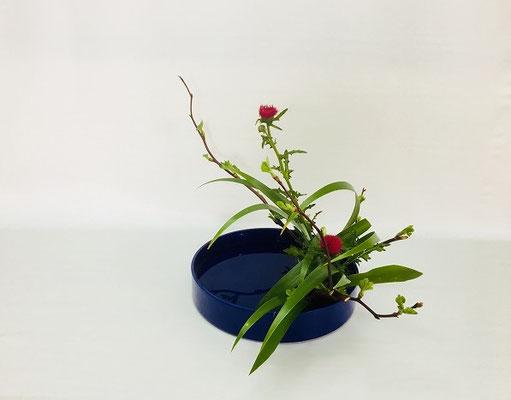 <芽出し木苺 薊(アザミ) 著莪(シャガ)> Kumikoさんの作品です。