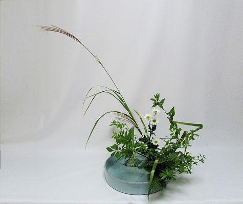 2020.10.30 <雪柳(ユキヤナギ) 矢羽根薄 小菊 レザーファン> Kayoさんの作品です。